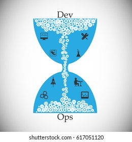 DevOps concept, illustration of project timeline sharing between development and operations team, represented through hourglass, vector illustration