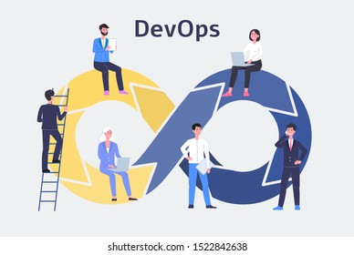 DevOps, development and operations technology with business people cartoon characters. Business growth strategy flat vector illustration isolated on white background.