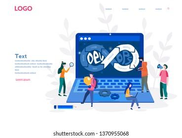 DevOps, Development and Operations. Vector illustration Concept with people using DevOps software for social media, web, app, banner, infographics. People team work together.