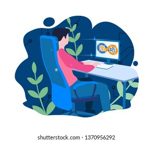 DevOps, Development and Operations. Vector illustration Concept with man using DevOps software for social media, web, app, banner, infographics. Programmer working, coding, startup.