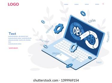 DevOps, Development and Operations. Vector illustration Concept DevOps software for social media, web, app, banner, infographics. People team work together.