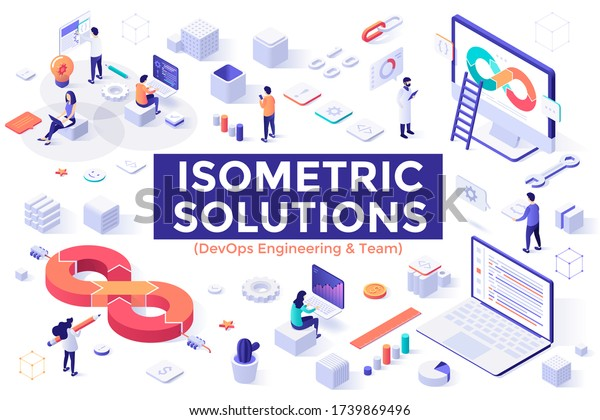 DevOps Engineering and Team set - people working on computers and developing software, programming or coding. Bundle of isometric design elements isolated on white background. Vector illustration.