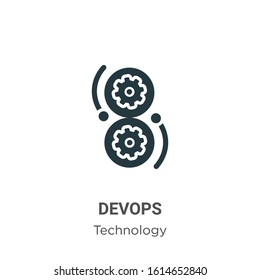 Devops glyph icon vector on white background. Flat vector devops icon symbol sign from modern technology collection for mobile concept and web apps design.