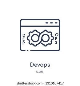 devops icon from technology outline collection. Thin line devops icon isolated on white background.