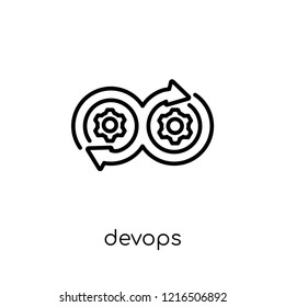 DEVOPS icon. Trendy modern flat linear vector DEVOPS icon on white background from thin line Technology collection, editable outline stroke vector illustration