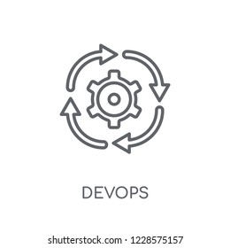 DEVOPS linear icon. Modern outline DEVOPS logo concept on white background from Technology collection. Suitable for use on web apps, mobile apps and print media.