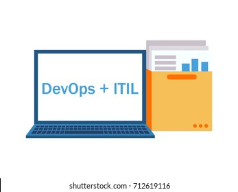 DevOps plus ITIL. Laptop with a folder with documents and graphs. Vector flat illustration