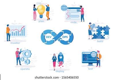 DevOps software circle process, plan, code, build, test, deploy, operate, monitor  team of programmer, development. Vector illustration.for web banner, infographics, mobile website.