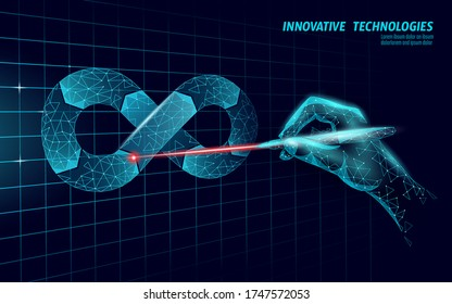 Devops software development operations infinity symbol. Programmer management laser system life cycle quality. Coding building testing release monitoring. Online freelance vector illustration