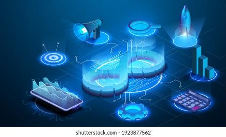 Devops software development operations infinity symbol. Web development concept in isometric design. Developing of internet app, online website service. Landing page layout or banner template. Vector