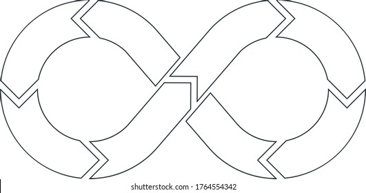 DevOps vector symbol in outline style. Mobius ribbon. Software development and information-technology operations.