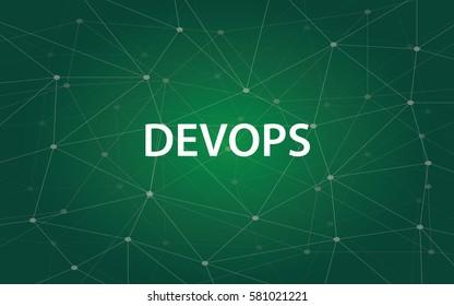 devops white tetx illustration with green constellation map as background