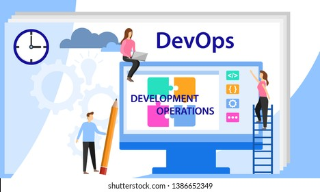 Devops at work concept. DevOps, Development and Operations. Vector illustration Concept with people using DevOps software for social media. Programmer, user administrator, professional engine.