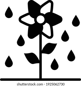 Dew Drops with Plant Vector Icon Design, Wet season Symbol on white background, rainfall weather Sign, Flower and Rain Drops Concept stock illustration