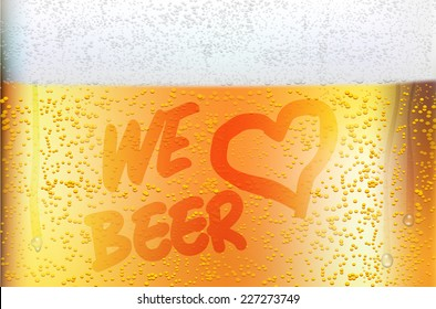 Dewy glass of beer in detail - WE LOVE BEER. Vector illustration.