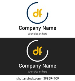 DF business logo icon design template elements. Vector color sign.