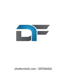 DF company linked letter logo blue