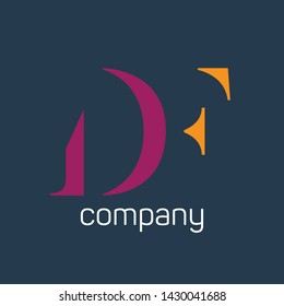 DF company logo. Monogram logo. Company logo.