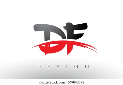 DF D F Brush Logo Letters Design with Red and Black Colors and Brush Letter Concept.