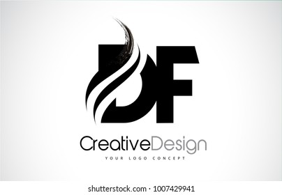 DF D F Creative Modern Black Letters Logo Design with Brush Swoosh