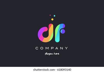 df d f  creative rainbow green orange blue purple magenta pink artistic alphabet company letter logo design vector icon template