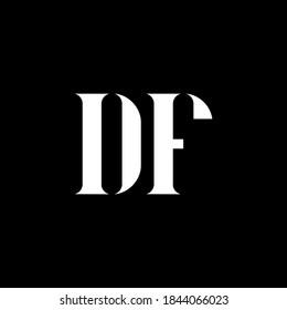 DF D F letter logo design. Initial letter DF uppercase monogram logo white color. DF logo, D F design. DF, D F