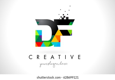 DF D F Letter Logo with Colorful Vivid Triangles Texture Design Vector Illustration.