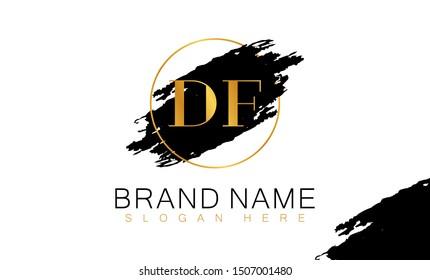 DF D F logo, DF initial logo design, Gold color, DF logo, DF Letter Logo Design Template Vector EPS