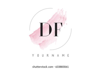DF D F Watercolor Letter Logo Design with Circular Shape and Pastel Pink Brush.