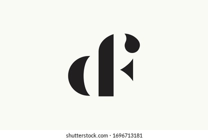df or fd and d or f Letter Initial Logo Design, Vector Template