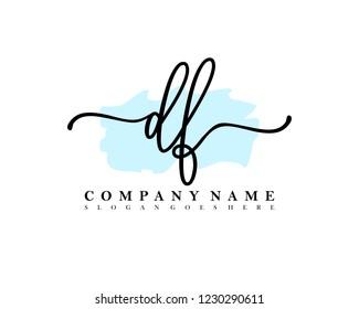 DF Initial handwriting logo vector