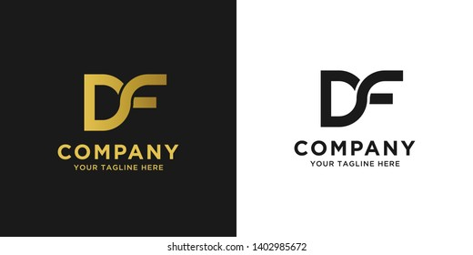 DF initial letter elegant logo template in gold color, vector file .eps 10, text and color is easy to edit
