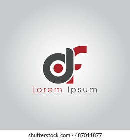 df initial letter linked lowercase logo. d and f vector template design.