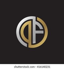 DF initial letters linked circle elegant logo golden silver black background