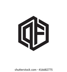 DF initial letters loop linked hexagon monogram logo