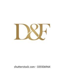 D&F Initial logo. Ampersand monogram golden logo