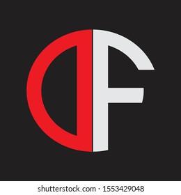 DF Initial Logo design Monogram Isolated on black background