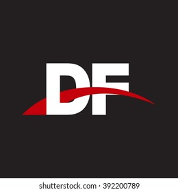 DF initial overlapping swoosh letter logo white red black background