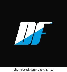 DF letter logo design on black background. DF creative initials letter logo concept. df icon design. DF white and blue letter icon design on black background. D F