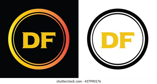 DF letters icon design template elements in abstract background logo, design identity in circle, alphabet letter