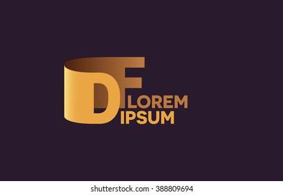 DF letters logo, D and F letters logo alphabet design.