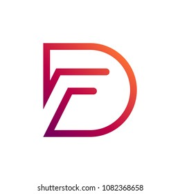DF Logo, FD Logo, Letter D And Letter F In Unity With Mono Line Style, Logo template Ready For Use
