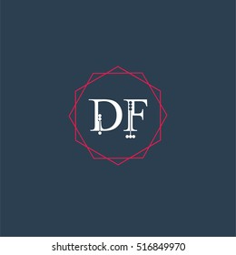 df logo initial Letter, Abstract Polygonal Background Logo, design for Corporate Business Identity,flat icon Alphabet letter