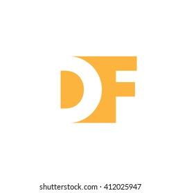 DF Logo. Vector Graphic Branding Letter Element. White Background