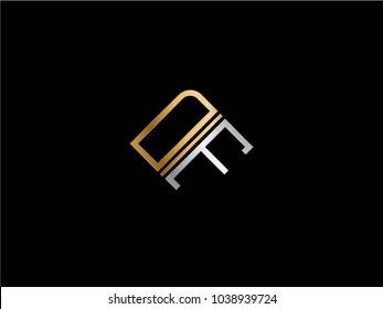 DF square shape Letter logo Design in silver gold color