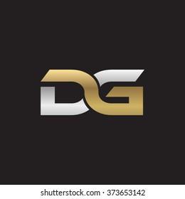 DG company linked letter logo golden silver black background