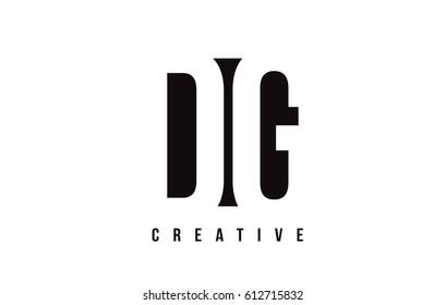 DG D G White Letter Logo Design with Black Square Vector Illustration Template.