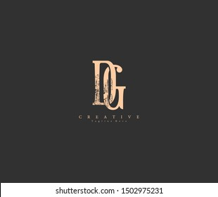 DG GD Letter Abstract Rough Distressed Monogram Logo