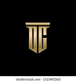 DG Gold letters logo. Vector illustration.