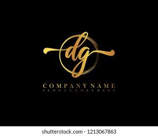 DG initial handwriting logo circle template vector